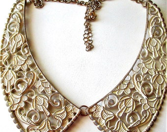 Peter Pan Bib Collar Necklace, Statement bib necklace