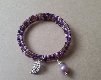 Purple and pink glass bead memory wire bracelet