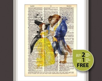 Dictionary Art Print, Disney princess Belle art print, Beauty and the Beast vintage poster, Kits room decor, Nursery Decor, wall art, 3645