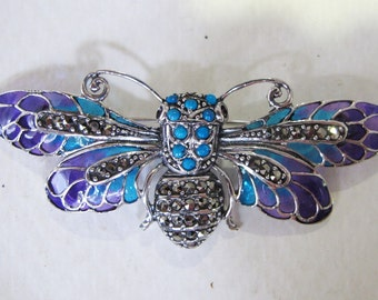 Stunning Art Nouveau Style Coloured Glass Plique-à-Jour Solid Silver Marcasite Turquoises Garnets Butterfly Brooch