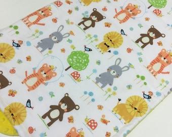 Soft cuddly baby's pram stroller blanket 100% Michael Miller brushed cotton fabric Shannon minky backing