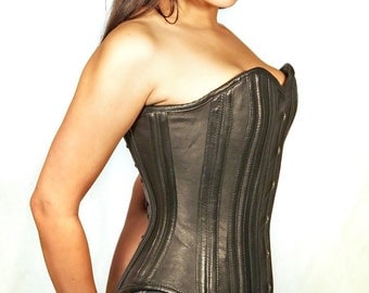 custom made steel boned buttery soft lambskin leather tight lacing corset  SCA larp cosplay anime fetish lingerie waist cincher