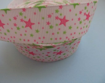 "Grosgrain Green and Pink Stars Ribbon 7/8"" 22mm"