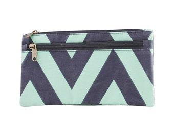 Chevron Pleated Clutch - Water Navy/Mint, Clutch Bag, Handbag, Canvas Clutch Bag