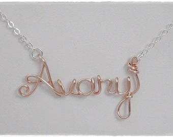Avary Wire Name Pendant Necklace, SALE!