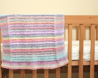 Hand Knitted Rainbow baby blanket
