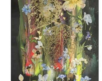 A Silkworm - Floral Collage 13'x18', Original Artwork, Oshibana Art, pressed flowers art