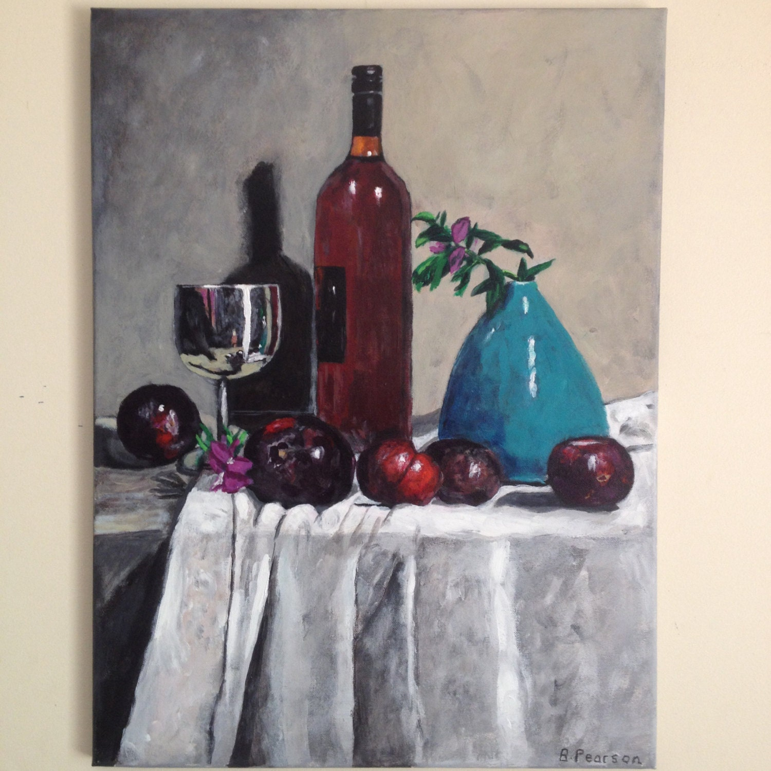 Still life painting original acrylic painting wine bottle a for Painting of a wine bottle