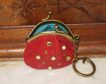 Fossil Red Leather Pear Shaped Mini Coin Purse & Key Chain- VGC