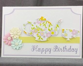 Handmade Happy Birthday Teapot and Teacup Card yellow