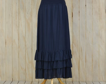 Lagenlook Maxi Skirt Petticoat Underskirt Quirky - NAVY BLUE S43