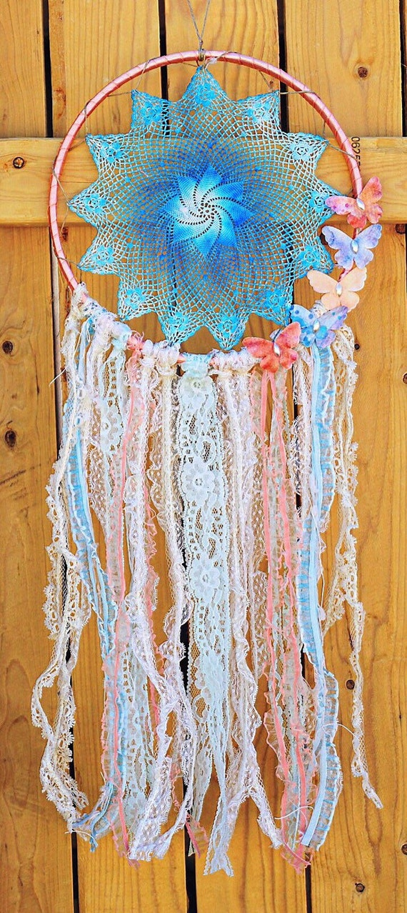 dreamcatcher one of a kind large 9 hoop doily