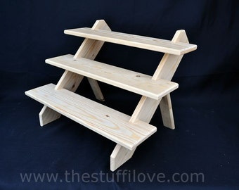 Solid Wood Stepped Crafters Collapsible Display Stand, Shelving Unit, for Craft Fair, Trade and Shop Displays.