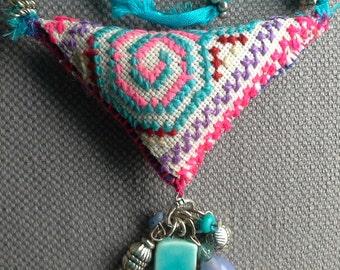 Textile necklace/pendant. Bohemian spirit. Summer colors.