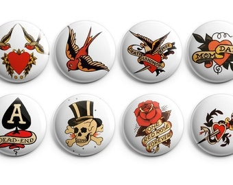 8 Vintage tattoo buttons, stocking stuffers, tattoo art, flash art, sailor jerry tattoo art