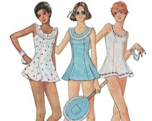 Vintage Tennis Dress Pattern McCALLS 4466 sz10 b32.5 Skate Dress Micro Mini Dress Kawaii Dress With Panties Tennis Racket Cover Sport Dress