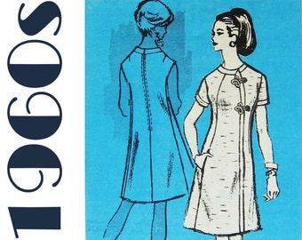 1960s A-line Dress Mandarin Dress PROMINENT DESIGNER M431 sz 14 b 34 UNCUT Shift Dress Pattern Designer Dress Oriental Dress Chinese Dress