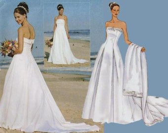 Strapless Wedding Dress Pattern Beach Wedding Dress BUTTERICK 6925 sz 6-10 b 30.5-32.5 Strapless Fit and Flare Gown Wedding Gown Pattern