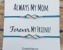 """Two Infinity Bracelets on """"Always My Mom, Forever My Friend"""" card   Mother Daughter Bracelets   Gift for Mom   Gift for Daughter   Love"""