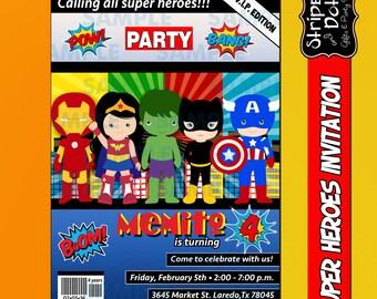 Super Heroes Invitations-Avengers Invitations-Kids Invitations-Super Heroes Party-Ironman Invitations-Captain America Invitations-Avengers
