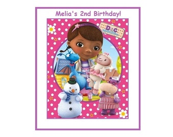 8 PERSONALIZED Doc McStuffins Party Bag Labels, Birthday Stickers, Custom Made