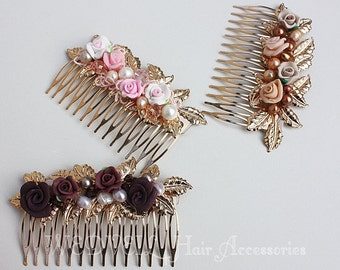 Flower Hair Comb for Wedding, with Pearls