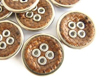 Brown buttons covered in woven fabric, 8 unused sewing buttons in brown and silver, 18 mm
