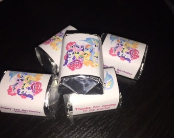 60 my little pony rainbow dash Theme Birthday Party Hershey Mini Nugget Labels candy wrappers