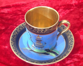 Unusual W & R Carlton Ware cup and saucer Temple pattern 2929. 1920s