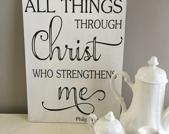 I Can do All Things Through Christ - Bible Verse Sign - Scripture Wall Art - Wall Decor - Inspirational Wall Decor Philippians 4 13