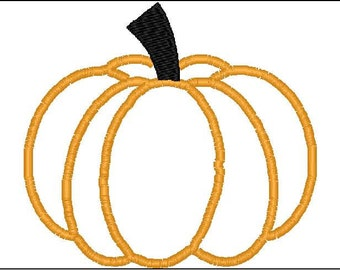 Plain Applique Pumpkin design for machine embroidery, jack o lantern, for halloween 5x7 4x4 hoop size