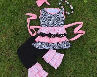 Girls-3 piece set-Toddler Outfit-Pink Damask-Cotton Sleeveless outfit-birthday-Capri Pant Set-summer-2T-4/5-photo prop-hippie chic-boho girl