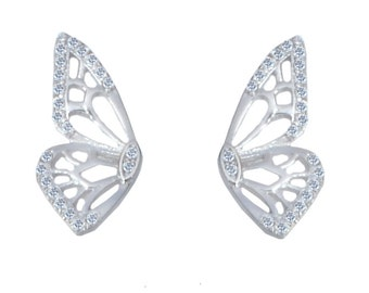 Sterling Silver Beautiful Butterfly Design CZ Crystal Pave Stud Earrings e12