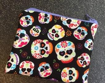 Sugar skull zipper pouch coin pouch