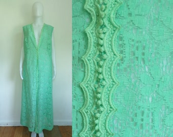 35%offJuly17-20 50s lace jacket size large / xl, seafoam green floral lace maxi floor length jacket, 1950s handmade scalloped trim fancy