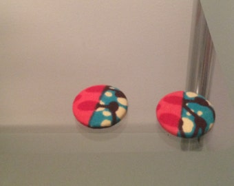 Ankara button earrings