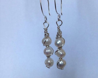 Freshwater pearl earrings with sterling silver ear wires