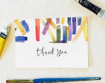 Printable thank you card, abstract watercolor, wedding invitation suite, DIY