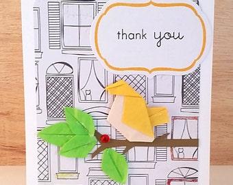 Handmade Origami Bird Thank You Card
