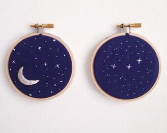 Moon and Starry Skies Embroidery Hoop Art