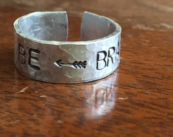 "Be Brave - Arrow - 1/4"" Single Wrap Hand Hammered Texture Artisan Handmade Custom Jewelry Sizes 3-14 Copper Brass Silver Aluminum"