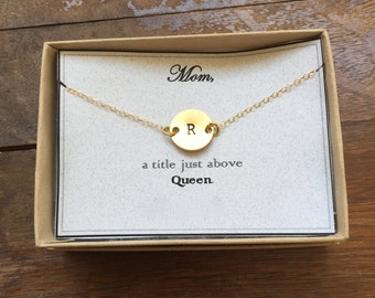 "Mom, a title just above Queen | Gift Card Statement Round Disc Necklace Personalized Jewelry Hand Stamped 14-24"" Lengths - Gifts for Mothers"