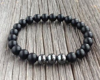 Men's Beaded Bracelet - 8mm or 10mm Matte Onyx and Hematite Stretch Bracelet, Gemstone Beaded Bracelet