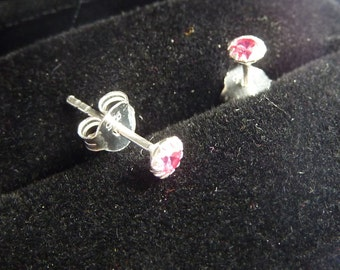Earrings 925 silver and crystal rose color stone PKA10-040