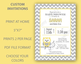 Owls Baby Shower Invitations Yellow Gray Chevron Baby Shower -Custom PRINTABLE Baby Shower Decorations- LGray LYellow Party Supplies Chevron
