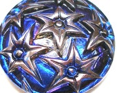 Czech glass BUTTON, Silver STARS with Blue & Purple, 1 inch, 27mm.