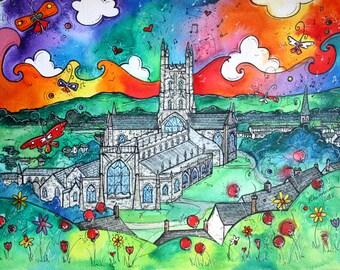 Gloucester ~ A Vibrant Church ~ Eglwys Lachar Caerloyw print from original artwork by Welsh artist Rhiannon Roberts