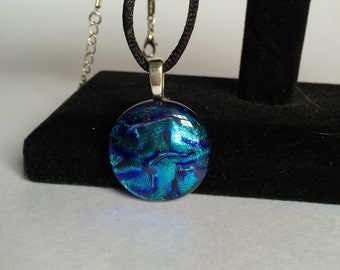 Round Blue Dichroic Glass Pendant