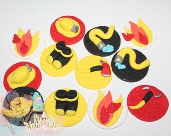 12x Edible Fireman Fondant Cupcake Topper Set