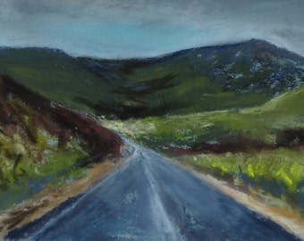 "Landscape of Scotland, original pastel painting, work of art, ""through the Highlands 2"", image size 10 x 15 cm, with or without frame,."